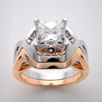 10k Real White and Rose Gold Bridal Set Engagement Ring Band Princess Diamond