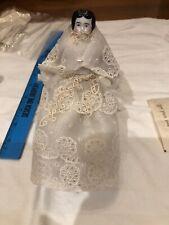 7� Antique Porcelain Bisque German China Doll Cloth Body Black Hair Blue Eyes