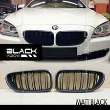 Matte Black Twin Dual Slat Fin Front Mesh Grille for BMW 6 series F06 F12 F13 M6