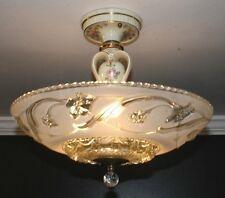 Antique frosted glass porcelier art deco light fixture ceiling chandelier 40s
