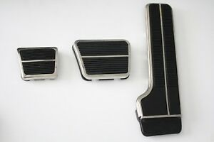 67-70 Chevy C10 Truck Deluxe Gas, Brake & Emergency Pedal Pads w/Stainless Trim