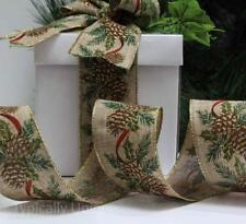 NEW 3 METRES CHRISTMAS QUALITY RIBBON WIRE EDGED GIFT WRAPPING PINE CONE 'FIR'