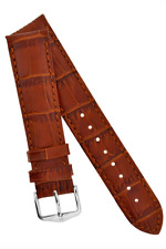 22MM Hirsch DUKE Alligator Embossed Leather Watch Strap GOLD BROWN (LARGE)