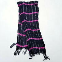 Womens Scarf Wrap Black Pink Sparkle Stripe Tie Dye Fringe Long Boho NEW