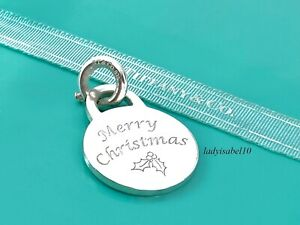 Tiffany & Co Sterling Silver Merry Christmas Round Circle Spring Ring Charm 201F