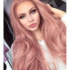 Pink Wig Synthetic Lace Front Wigs for Women Long Straight Peach