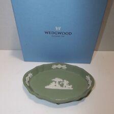 Vintage Wedgwood Jasperware PIN TRAY Trinket Dish CHERUBS Butterfly DOG Green