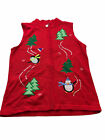womens sz large red knit ugly christmas holiday Zip sweater vest #719