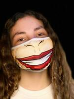 Washable Reusable Face Mask Red Lips Tan Funny Nose Extra Large Mouth Big Smile