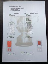 1980-81 League Cup Final Liverpool v West Ham United matchsheet
