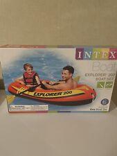 Intex Explorer 200 Inflatable 2 Person River Boat Raft Set 2 Oars & Pump New