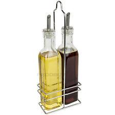 Oil & Vinegar Bottles Stainless Steel Spouts Drizzler Pourers Chrome Holder Rack