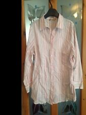 George at Asda white striped coloured blouse ladies 14 16 shirt button fitted