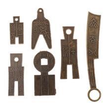 6Pcs Monnaie Chinoise Ancienne Dynastie Bronze Couteau Argent Collection
