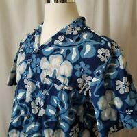 Royal Creations Vintage Large Hawaiian Aloha Friday Shirt Blue Floral Hibiscus