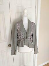 Inc Women's Medium Cropped Lace Detail Peplum Ruffle Jacket Linen Greige Career