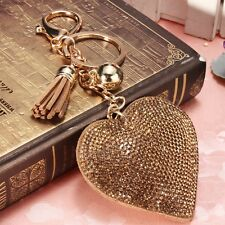 Gold Heart Pendant Tassels Key Ring Charm Chain Crystal Keyring Purse Bag Keyfob