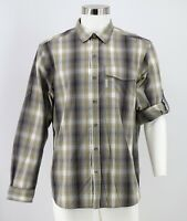 Columbia Button Front Shirt Size Medium Gray Green Plaid Roll Sleeve Vented Mens