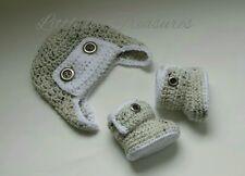 NEW Newborn Baby Boy Aviator Hat and Booties Crochet Infant Photo Prop Gift