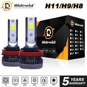 Ridroid H11 H9 H8 120W 26000LM 6000K COB Mini LED Headlights Low Beam Fog Bulbs