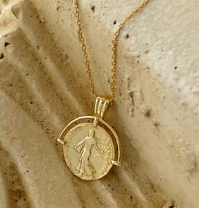 """Women Nymph / Goddess Portrait Gold Coin 925 Sterling Silver Necklace 15-17"""""""