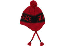 d4dd4c596d9 Supreme Heathered Earflap Beanie Red FW18 DEADSTOCK Ready to Ship