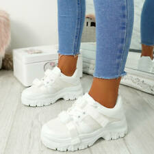 WOMENS LADIES BUCKLE CHUNKY TRAINERS PLATFORM SNEAKERS PARTY CASUAL SHOES SIZE