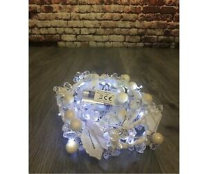 6ft LED Pearl Festive Garland Ice White LEDs Decoration