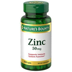 Nature's Bounty Zinc 50 mg Supplement, 100 Caplets