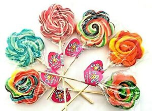 LOLLIPOPS WHIRLY SWIRL ROUND FLOWER LOLLIES 30g CAKE TOPPERS TEACHERS SWEETS