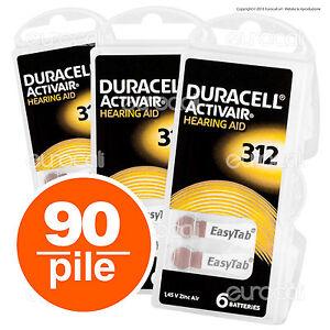 90 Batterie PILE Duracell Activair 312 PROTESI Acustiche Auricolare PR41 sordi