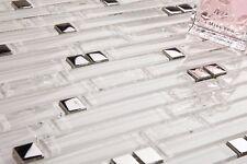 1 SQ M Plain & Crackle Superwhite & Silver Glass Brick Mosaic Tile Sheet 0139