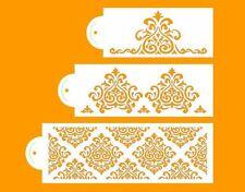 3 tier cake stencil set DAMASK FILIGREE LACE wedding DECORATING FONDANT airbrush