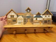 Wooden Wood Wall Shelf W/ Pegs Hooks Houses Village Buildings School Bakery Inn