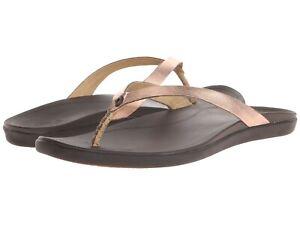 Women's Shoes OluKai HO'OPIO LEATHER Thong Sandals 20290-C048 COPPER / DARK JAVA