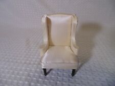 Classic Dollhouse High Back Chair Artisan Dollhouse Miniature White Upholstered