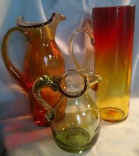 Box Lot of Mid Century Modern Blown Glassware - Two Pitchers and a Tall Mug