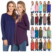 USA Women Scoop Neck Long Sleeve Scallop Hi-Lo Hem Tunic Top Solid T-Shirts
