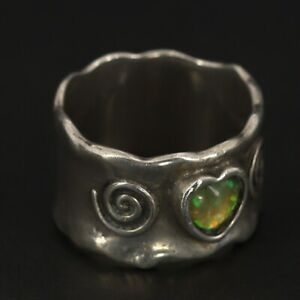 VTG Sterling Silver - ISRAEL 11mm Opal Heart Wavy Spiral Band Ring Size 7 - 6g