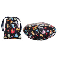Shower Cap - Double Layer -  Matching Satin Bag - Waterproof - Spa Gift - Cat