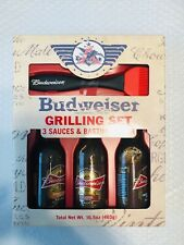 Budweiser Grilling Set 3 Bbq Sauces and Wooden Basting Brush 2015 Never Opened
