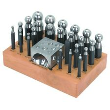 24pc Dapping Block & Punch Set Jewelers Bead Forming Craft PRO High Carbon Steel