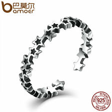 Bamoer Fine S925 Sterling Silver open Star ring Retro Jewelry For Women/men Gift