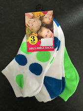 BNWT Little Girls Perfect Sports Blue/White/Lime 3 Pack Ankle Socks Sz 5-8