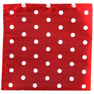 New men's polyester red white polka dot hankie pocket square formal wedding