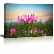 Pink Lotus Flowers Looking Over the Sunset - Canvas Art Home Decor- 16x24 inches