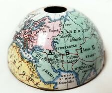 Antique Porcelain Enamel on Copper Top Half Earth Globe for Ink Well or Clock?