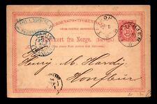 Norway 1884 Postal Card Used / Via Paris - L6727