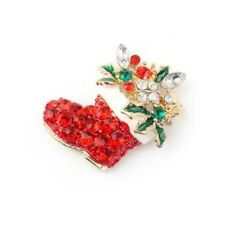 Red & Green Diamonte / Diamante Christmas Boot Brooch / Pin NEW