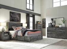 New Modern Gray Bedroom Furniture - 5pcs Queen Led Platform Storage Bed Set Ia20